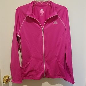 Adidas zip up jacket sz L pink & white